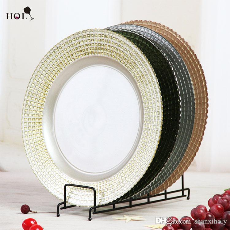 2018 New Cheap Wedding And Catering Embossed Unique Design Gold Sliver Colorful Square Glass Charger Plate Wholesale From Shanxiholy 37
