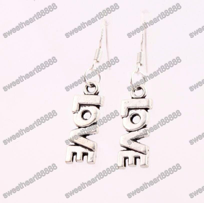LOVE Lettre Boucles d'oreilles 925 Argent Poisson Crochet D'oreille es / Antique Argent Lustre E921 7.8x38mm
