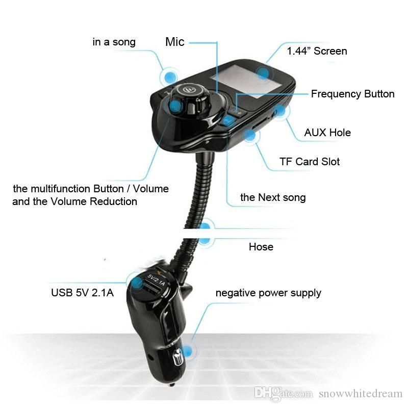 Bluetooth Car Kit Handsfree FM Transmitter MP3 Music Player 5V 2.1A USB Car Charger with Blue LED Screen For Iphone Samsung