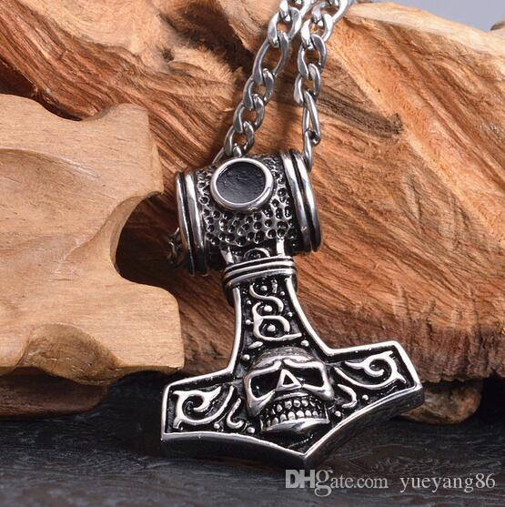 Hot Sale High Quality Pure 316L Stainless Steel Biker skeleton Skull Thor Hammer Pendant Men's Jewelry Fine Gift