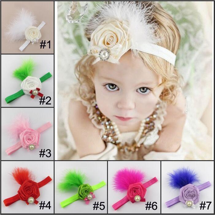 7 Kolor Dzieci Baby Pearl Feather Flower Party Opaski Girls Cute Bow Hair Band Infant Lovely Headwrap Dzieci Bowknot Elastyczne Akcesoria
