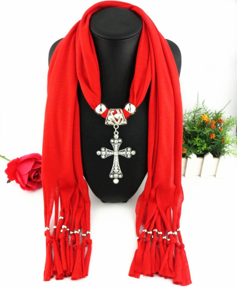 Dernière pas cher mode dames écharpe direct usine clair strass croix pendentif écharpes bijoux classique croix écharpes gland