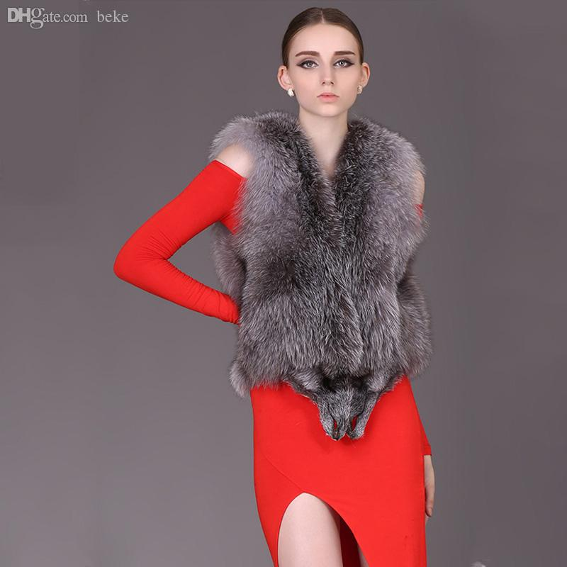 9fb727f45 Wholesale-Silver Fox Fur Vest for women Real Fox Fur coat women Noble  fashion luxury genuine Fur coat women QS-95