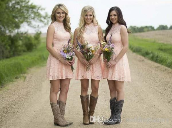 Country Bridesmaid Dresses 2019 Blush Pink Short Lace Bridesmaids Gown Illusion High Neck Beads Sequins Open Back Dress for Weddings