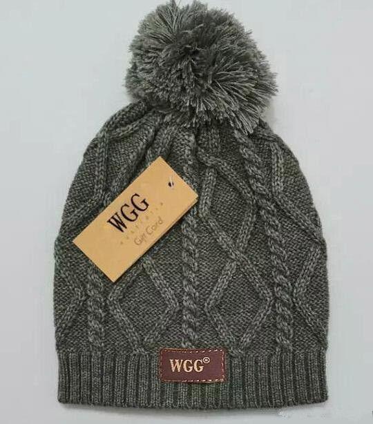 Hot! New WGG cashmere hat Fashion knitted wool hat Checkered pattern Women winter hat