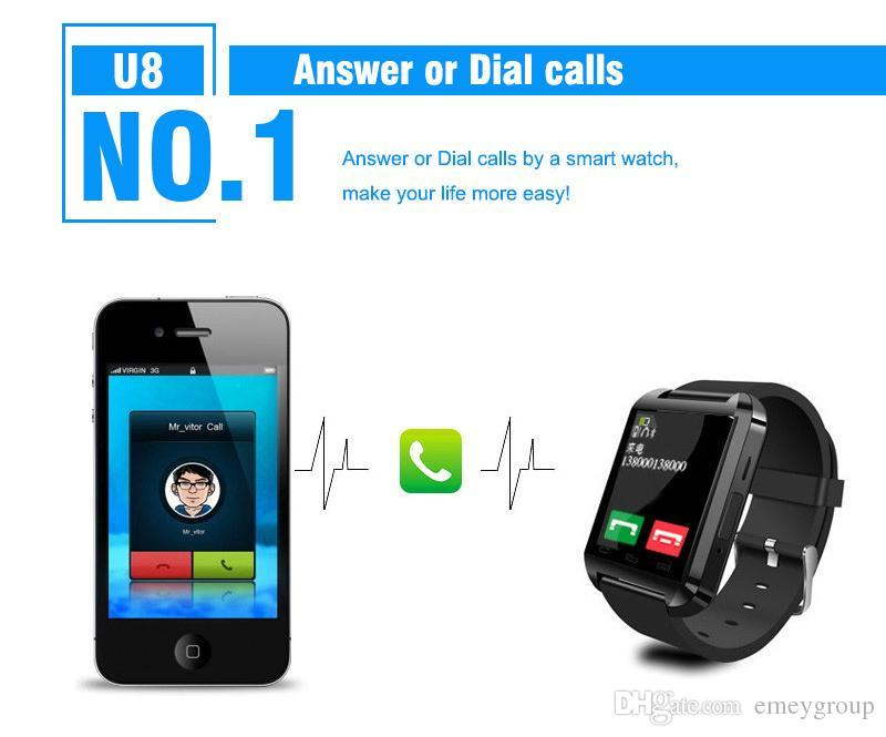 Bluetooth Smartwatch U8 U Watch Smart Watch Wrist Watches for Samsung S4 S5 s6 s7 edge Note 4 5 6 7 HTC huawei xiaomi Android Phone Smartpho