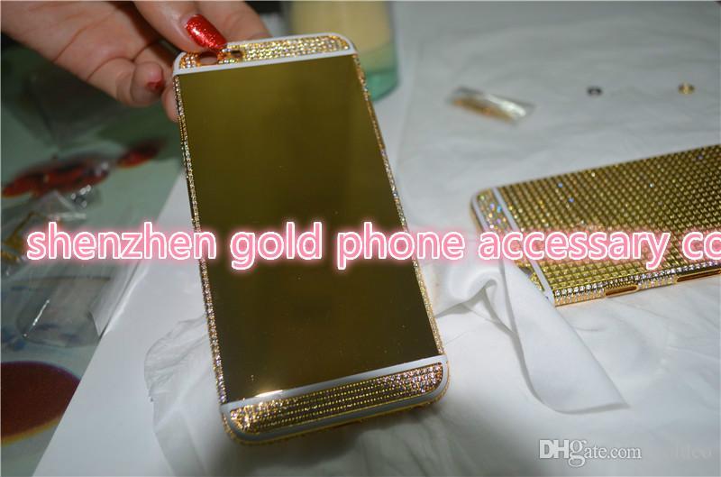 Carcasa trasera de la batería de chapado en oro de 24K Carcasa de cristal para iphone6 plus 1 blanco 2 negro, línea negra 6s en total