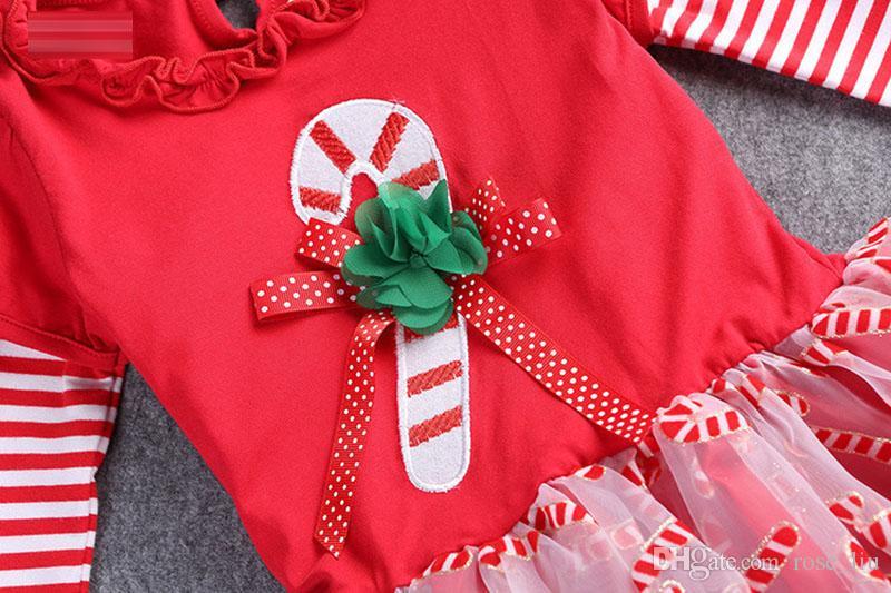 4 Дизайн Рождество / Рождество девушка полоса Санта кружева пижамы 2016 Новый хлопок мультфильм с длинным рукавом платье брюки колокол днища костюм B