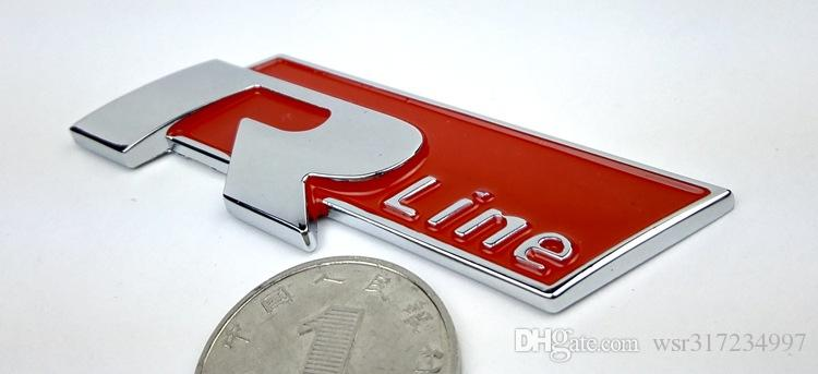 / عالية الجودة R خط شعار شارة للملصقات السيارات جولف 6 Magotan فولكس جيتا الجديدة 3D المعادن الشارات ملصقات الوفير