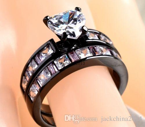 2016 Nova Chegada das Mulheres Jóias 10Kt ouro preto cheio de Safira Simulado Diamante Casamento Noivado Coração Nupcial Anel set presente Tamanho 5-11