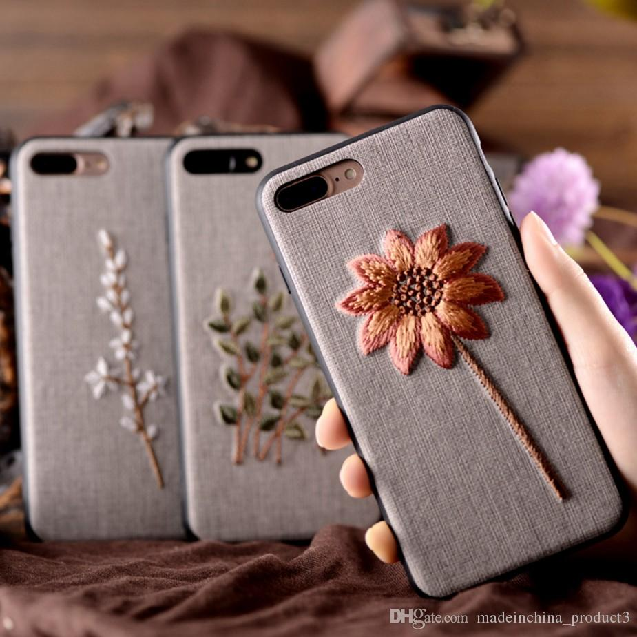 buy online 66e2d f7a83 For iPhone 8 iPhone 6 6S plus Case Art Handmade Embroidery 3D Flower Phone  Cases For iphone 7 plus 6s 6 plus Cover