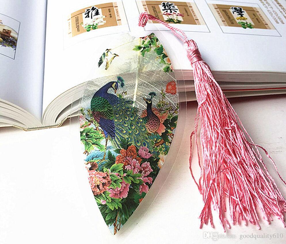 foglia di foglia secca naturale pavone segnalibro carta del libro la cerimonia nuziale baby shower festa compleanno favore regalo souvenir souvenir