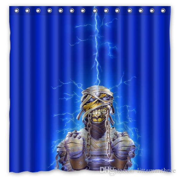 2019 Iron Maiden Undead Lightning Energy Light Design Shower Curtain Size 180 X Cm Custom Waterproof Polyester Fabric Bath Curtains From