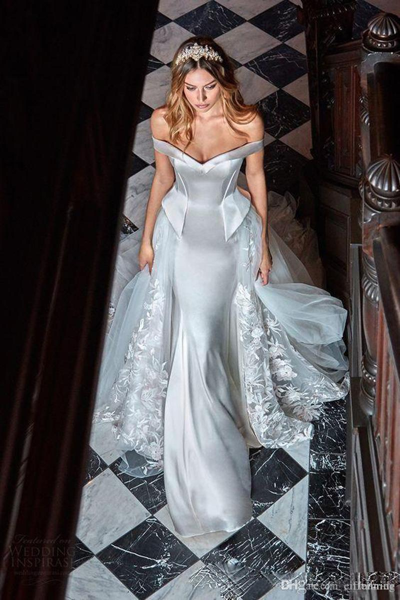 2016 Modest Wedding Gown Detachable Train Custom Sexy Off Shoulder ...
