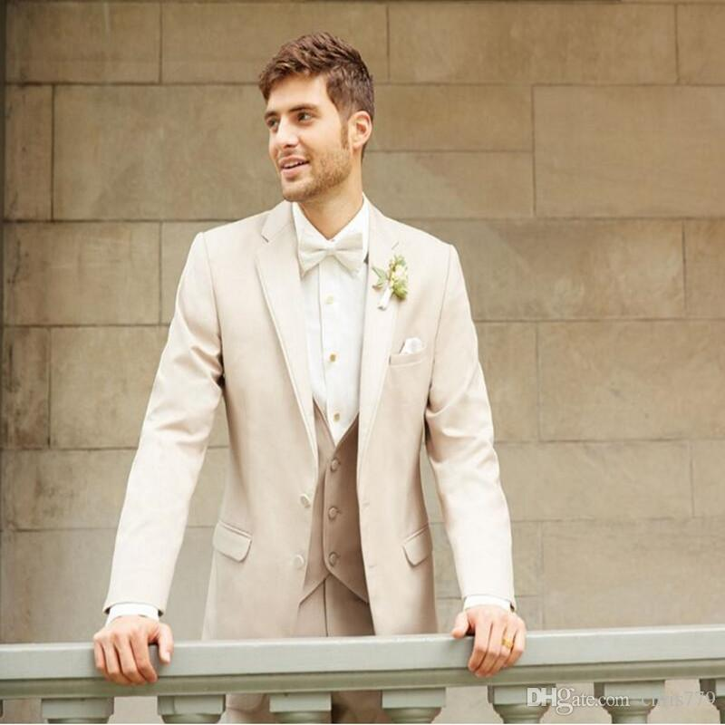 Beige men suits Fashion Men wedding Suits Tailor Made High Quality groom tuxedos Party Prom suits tuxedosjacket+pants+vest
