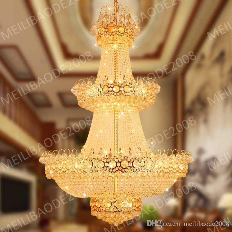 BE41 European Luxury Penthouse Villa Living Room Duplex Staircase K9 Crystal Chandeliers LED Rotating Hotel Lobby Pendant Lamp Lights
