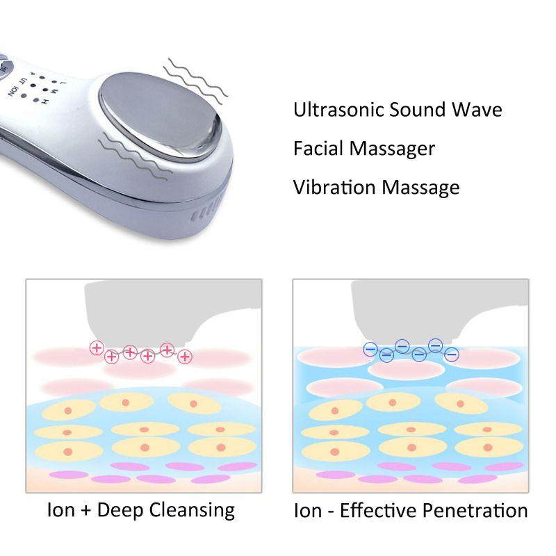 3MHz 초음파 청소기 초음파 피부 케어 페이셜 마사지기 진동 이온 피부 회춘 장치와 얼굴 청소기