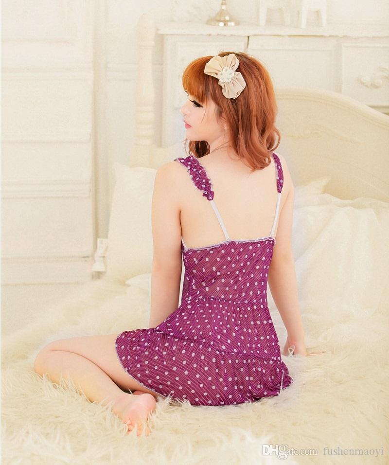 Moda Intimo da donna serie Sexy Lingerie 2 pezzi Pigiama set Sling dress + G String stampa floreale i