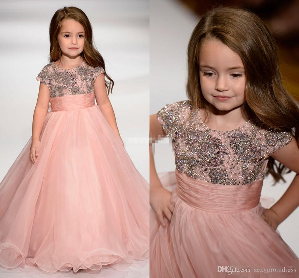 Dusty Pink Sequins Beaded Girls Pageant Gowns Cap Sleeve Organza