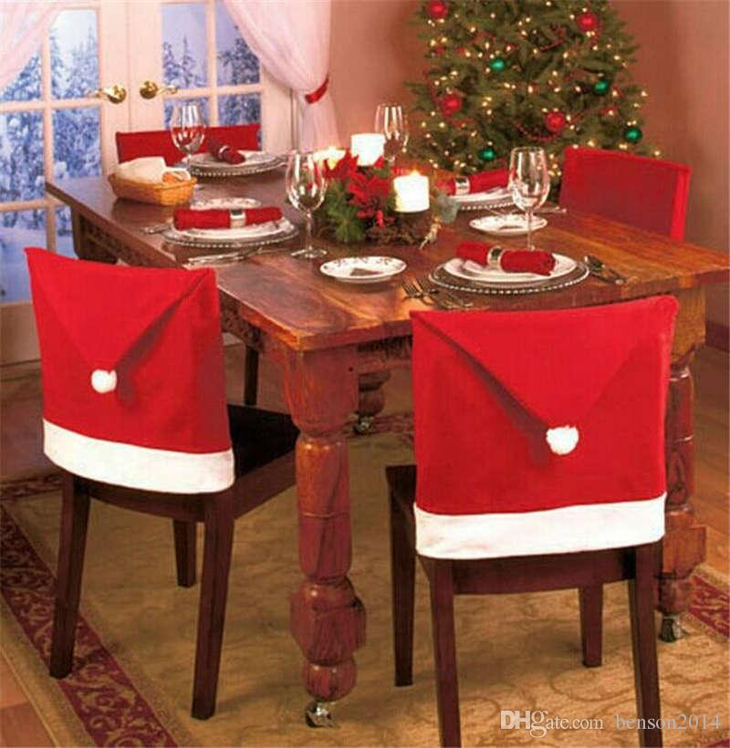Wholesale Christmas Decorations Santa Claus Red Hat Chair Back Covers Xmas Gift Dinner Decoration Party Cloth Chair Decorations