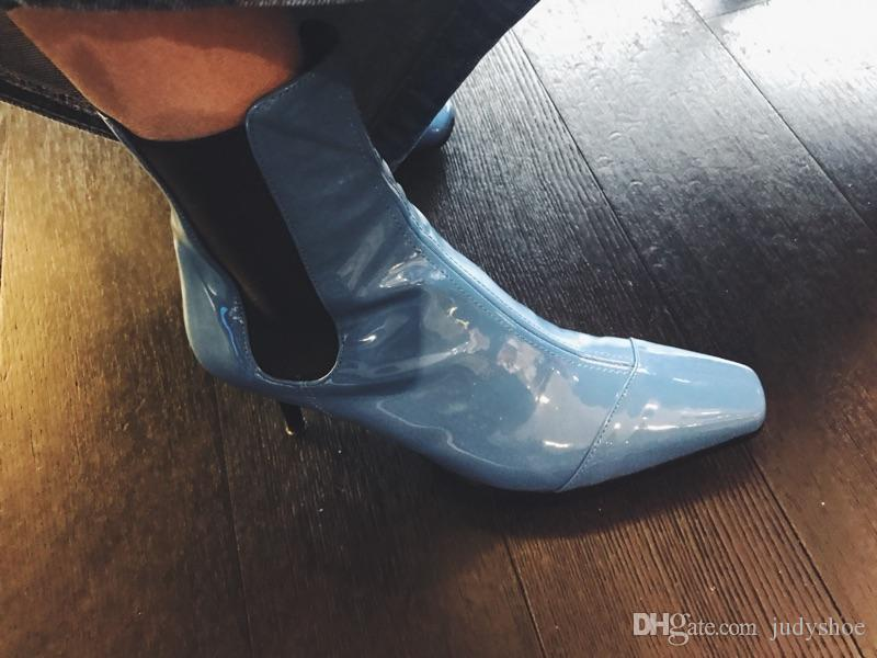 2018 Newest patent leather Short Boots silver blue high heels high quality square toe runway style Ankle Boots for women shoes