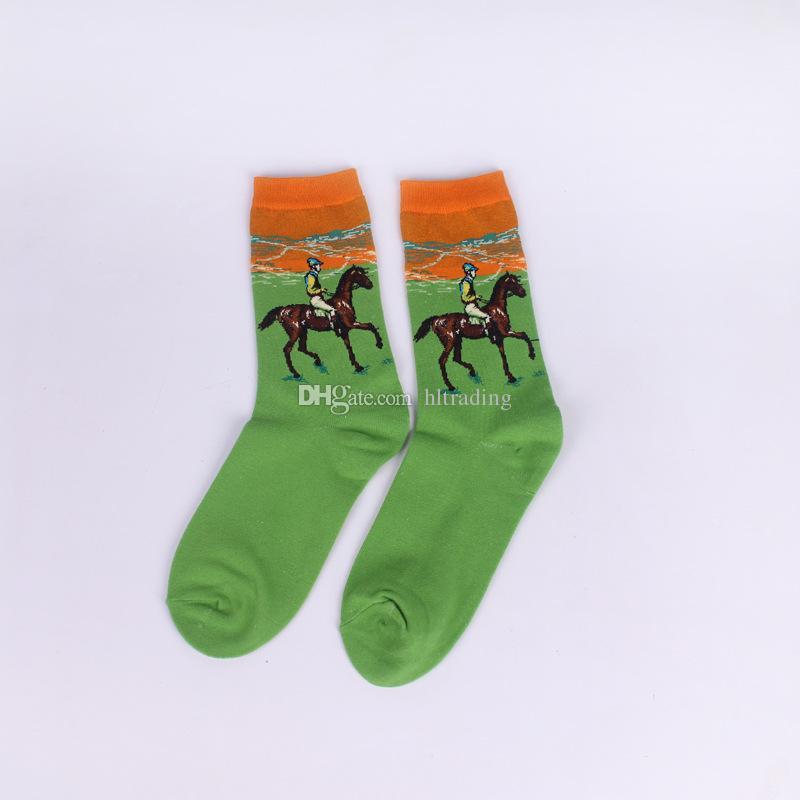 18 farben Kunst Stil Socken Frauen MÄNNER große kinder ölgemälde Baumwolle Freiheitsstatue Mona Lisa Sternenhimmel Socken Mittelrohr socken C2874