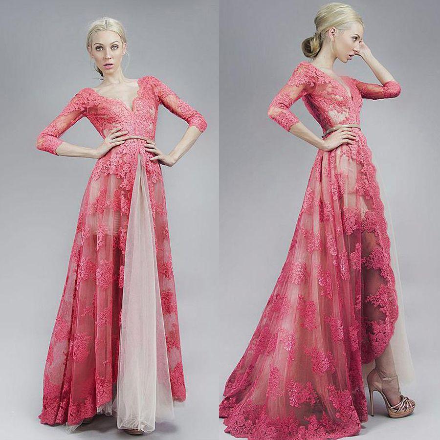 6a1bbc89adc V Neck Neckline Illusion Floor Length A Line Evening Dresses With Lace  Appliques 3 4 Sleeves Coral Lace Prom Dress Vestidos De Fiesta Cortos Knee  Length ...