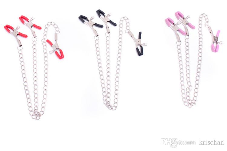 Unisex ropa rosada pines recubiertos Estilo abrazaderas de engrasador con la cadena Sexo Flirt clips BDSM Bondage Kit Esclavo Formación cerdo