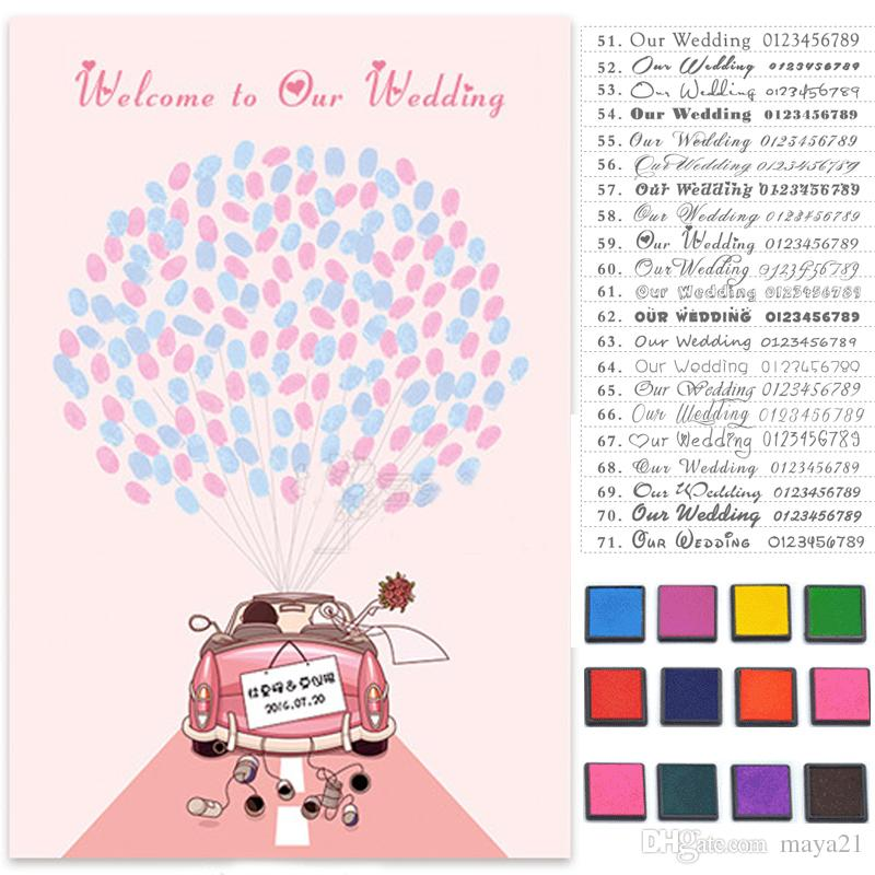 Custom Thumbprint Wedding Guest Book Fingerprint Guestbook Guests ...