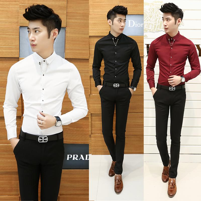 5656209a2f 2018 Wholesale Hairdresser Mens Shirts Long Sleeve Camisa Masculina 2016  New Chemise Homme Slim Fit British Style Mens Shirt From Sweet59