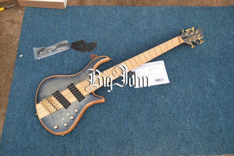 New Big John Fan Fret 6 Strings Electric Bass Guitar With Gold
