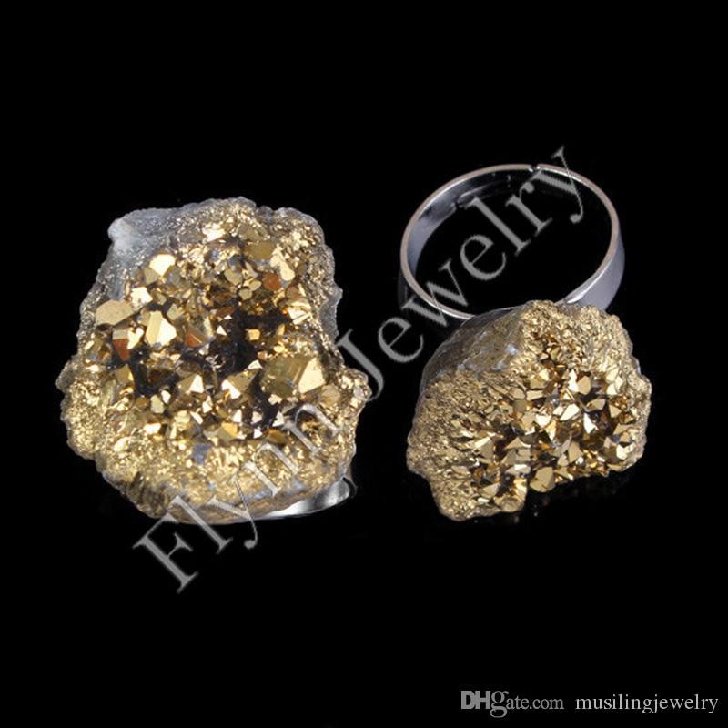 Anelli da uomo Anelli nuziali argento placcato cristallo Druzy Geode i gemma pietra anelli accessori regolabili gioielli europei di moda