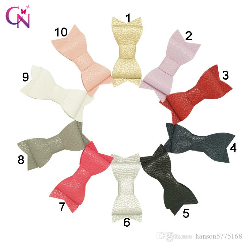 3 inch New Fashion Layers Handmade Mini Leather Hair Bow For Baby Kids Children Solid Hair Accessories With Ribbon Covered Clip Headwear