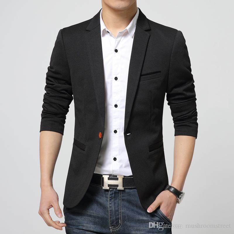 Best Brand Men Blazer Men Badge Casual Suit Jacket Men Slim Fit ...