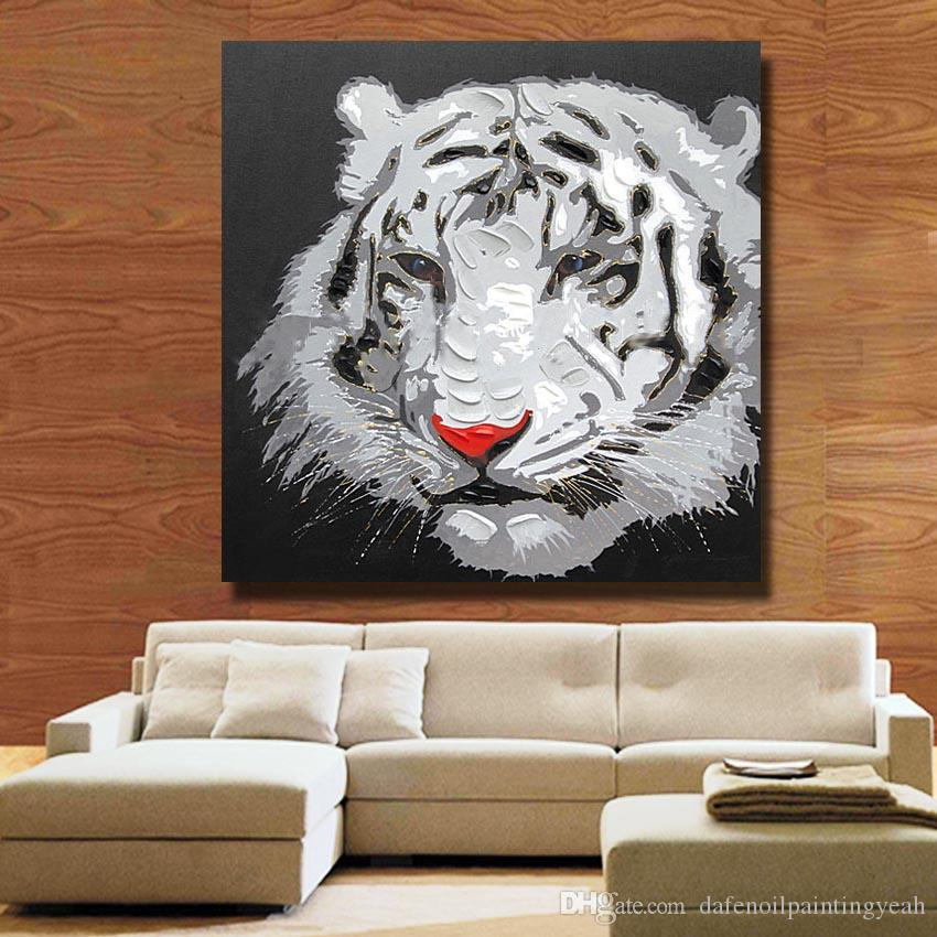 White Tiger Head Painting for Living Room Wall Hand Painted Oil Painting Home Decor Wall Pictures Modern Canvas Art Cheap No Framed