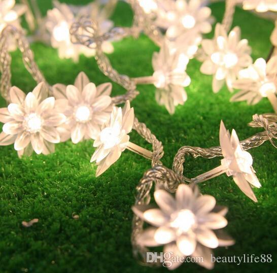 الجنية 5 متر لوتس الزهور بقيادة سلسلة جارلاند ضوء عيد الميلاد السنة الجديدة حفل زفاف عطلة المنزل luminaria مصباح الديكور
