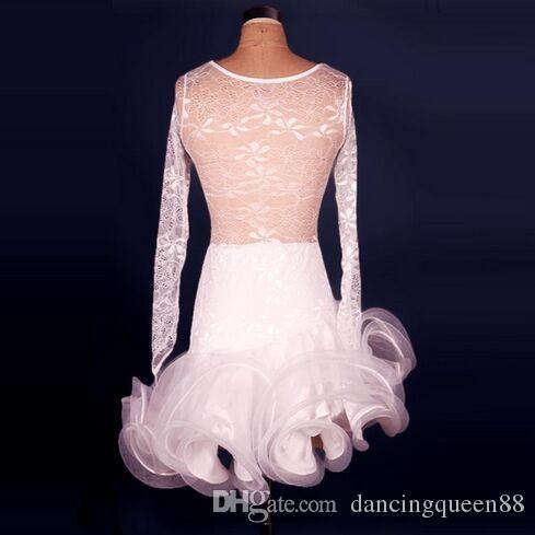 Customized Adult / Children Latin Dance Dress Mujeres / Niñas Ropa blanca para Dance Cha Cha / Samba / Ballroom Dance Wear Vestido De Baile Latino