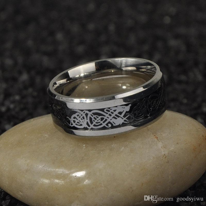 Titane bijoux en acier en gros 316L Anneau En Acier Inoxydable d'argent incrusté de dragon morceau Bande Pour les femmes Hommes