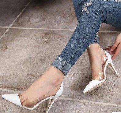 큰 판매 누드 컬러 새로운 유럽과 미국의 여름 투명 뾰족한 하이힐 섹시한 결혼식 신발 374