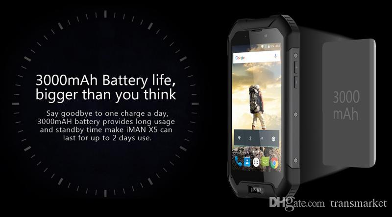 "Original Iman X5 IP67 Waterproof Smartphone 3000mah 4.5"" MTK6580 Quad core 1GB+8GB 5MP 3G WCDMA Shockproof Android 5.1 IP67 Waterproof mobil"