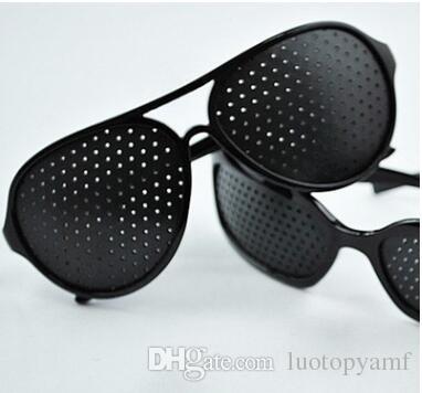أسود للجنسين رؤية الرعاية دبوس ثقب نظارات الثقب نظارات العين ممارسة البصر تحسين البلاستيك dhl شحن مجاني