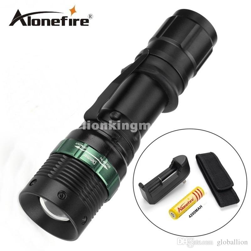 E3 1set led LED Flashlight Adjustable Focus Zoom Flash Light Lamp+18650 battery+charger+Flashlight Holster