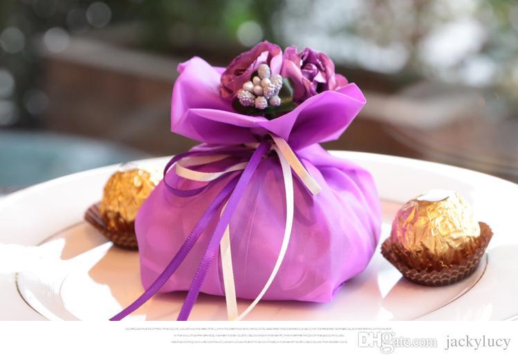 Bolsas de regalo de dulces de estilo italiano Bolsa de tela floral Titular de caramelo de boda Titular de favor de boda Bolso de chocolate Paquete de caramelo