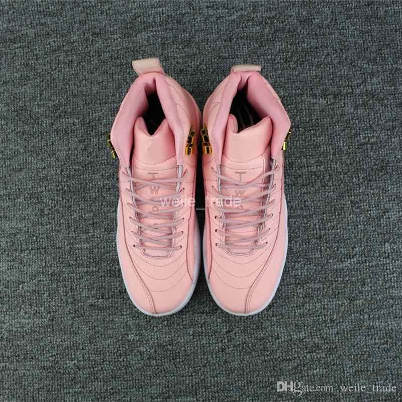2018 Nouveau 12 XII Femmes Basketball Chaussures Rose 12s Femmes Sneakers Pas Cher Boot Basket-ball formateurs Femmes Marque Sport Chaussures Eur 36-40
