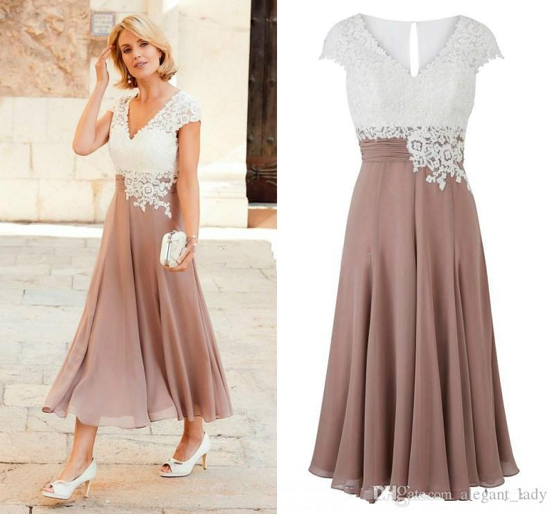 2018 V Neck Chiffon Mother' Dresses Cap Sleeves Lace