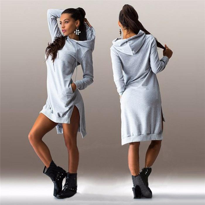 autumn ladies casual loose hoodie dress women plus size hoody
