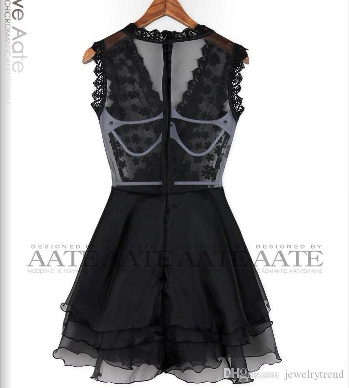 뜨거운 유럽 여성 섹시 Clubwear 공주 꽃 드레스 브이 목 관점 후면 레이어 레이스 탑 케이크 드레스 Orangza 파티 미니 드레스