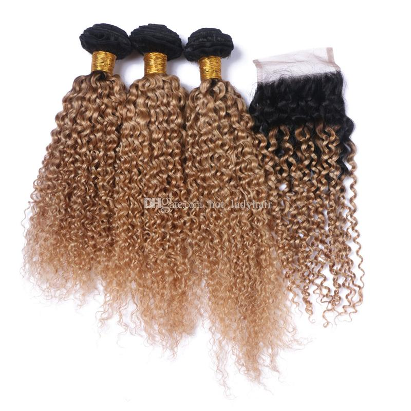 Mongolian Ombre Hair With Closure 1B 27 Dark Roots Deep Curly Hair With Closure Honey Blonde Human Hair Bundles With Closure