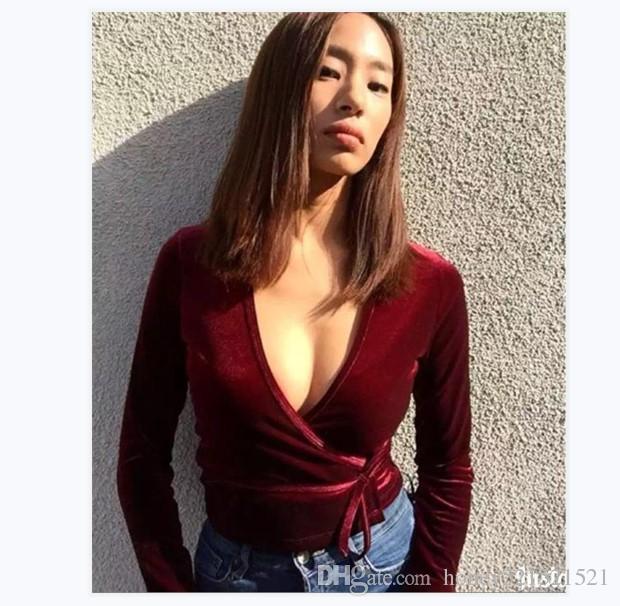 Herbst-neue Art und Weisefrauen reizvoller v-Ansatz Langhülse Tunika bodycon Schärpen nehmen Taille einfarbige Samthemdbluseoberseiten ab