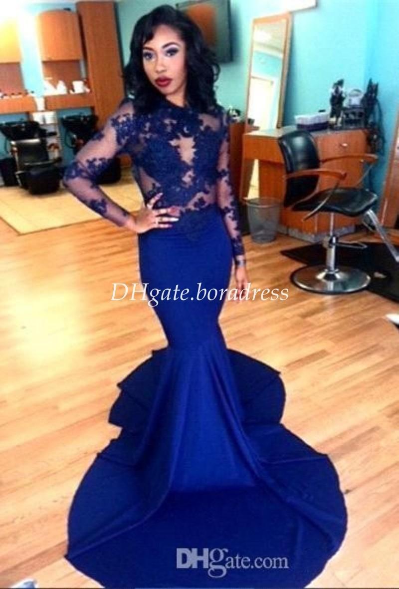 Royal Blue Lace Sheer Long Sleeves Mermaid Evening Dresses 2016 ...